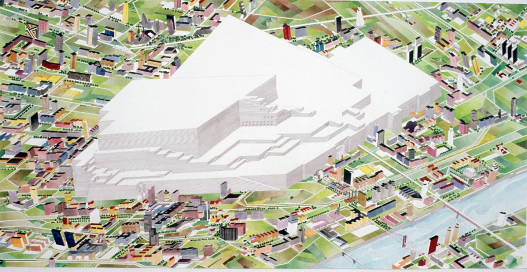 grosses Monument, 2008 / Aquarell, Tusche auf Papier  152 x 305 cm